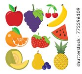 cute bright colors of fruits... | Shutterstock .eps vector #772296109