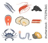 seafood flat icon set | Shutterstock .eps vector #772296361