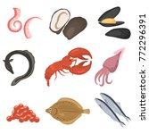 seafood flat icon set | Shutterstock .eps vector #772296391
