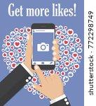 get more likes. hand holding... | Shutterstock .eps vector #772298749