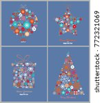 set of decorative winter cards  ... | Shutterstock .eps vector #772321069