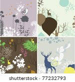 floral wallpaper collection | Shutterstock .eps vector #77232793