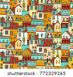 seamless vector pattern with... | Shutterstock .eps vector #772329265