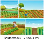 four farm scenes with... | Shutterstock .eps vector #772331491