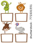 Stock vector border templates with cute animals illustration 772331551