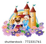king and queen in flower garden ... | Shutterstock .eps vector #772331761