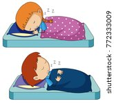 boy and girl sleeping on bed...   Shutterstock .eps vector #772333009