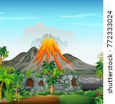 scene with volcano and... | Shutterstock .eps vector #772333024