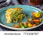 zucchini pancakes with salad at ... | Shutterstock . vector #772338787