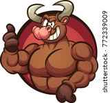 strong cartoon bull with thumbs ... | Shutterstock .eps vector #772339009