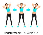 smiling young pretty woman make ... | Shutterstock .eps vector #772345714