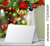 christmas greeting card mock up | Shutterstock .eps vector #772353439