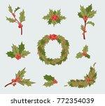 christmas holly berry...   Shutterstock .eps vector #772354039