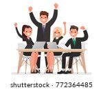 successful business team led by ... | Shutterstock .eps vector #772364485