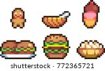 set of food icons in pixel style | Shutterstock .eps vector #772365721