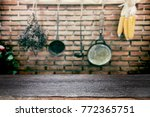 empty wooden table for present...   Shutterstock . vector #772365751