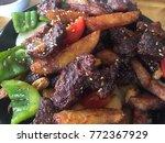 hot pot of buffalo meat ... | Shutterstock . vector #772367929