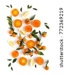 creative flat layout of fruit ... | Shutterstock . vector #772369219