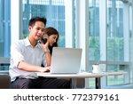 asian handsome business man use ... | Shutterstock . vector #772379161