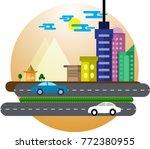 flat scene cityscape of egypt. | Shutterstock .eps vector #772380955