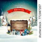 merry christmas background with ... | Shutterstock .eps vector #772387207