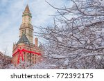 christmas in boston  usa. large ... | Shutterstock . vector #772392175