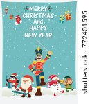 vintage christmas poster design ... | Shutterstock .eps vector #772401595