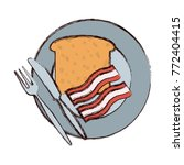 plate with bread an bacon... | Shutterstock .eps vector #772404415