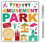 Amusement Park Icons Symbols...