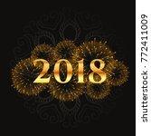 golden 2018 fireworks and... | Shutterstock .eps vector #772411009