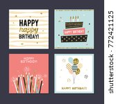happy birthday greeting cards... | Shutterstock .eps vector #772421125