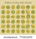 flat african flora and fauna ... | Shutterstock .eps vector #772421695