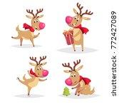 cartoon reindeers with big... | Shutterstock .eps vector #772427089