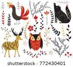 folk collection.deer bird wolf... | Shutterstock .eps vector #772430401