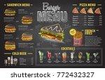 vintage chalk drawing burger... | Shutterstock .eps vector #772432327