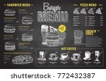 vintage chalk drawing burger... | Shutterstock .eps vector #772432387