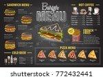 vintage chalk drawing burger...   Shutterstock .eps vector #772432441
