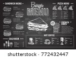 vintage chalk drawing burger... | Shutterstock .eps vector #772432447