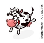 Cartoon Cute Cow. Emblem For...