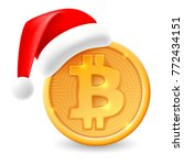 bitcoin and santa claus hat.... | Shutterstock .eps vector #772434151