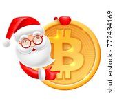 bitcoin and santa claus. gift... | Shutterstock .eps vector #772434169