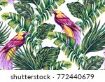tropical seamless floral vector ... | Shutterstock .eps vector #772440679