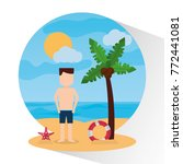 man standing beach with... | Shutterstock .eps vector #772441081