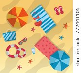 summer beach umbrella towels... | Shutterstock .eps vector #772441105