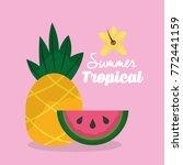 summer tropical fruits...   Shutterstock .eps vector #772441159