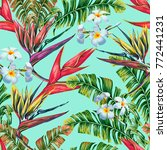 tropical floral seamless vector ... | Shutterstock .eps vector #772441231