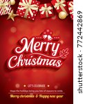 merry christmas party and gift... | Shutterstock .eps vector #772442869