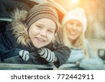 happiness caucasian smilling... | Shutterstock . vector #772442911