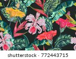 tropical seamless vector floral ... | Shutterstock .eps vector #772443715