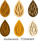 raw almond nut set various... | Shutterstock .eps vector #772446469